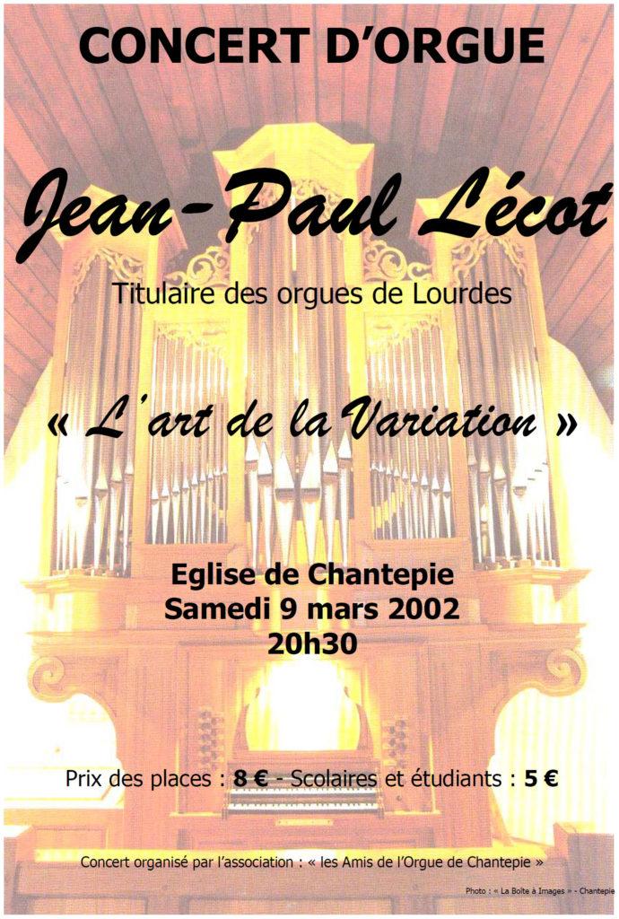 Affiche du concert de Jean-Paul Lécot